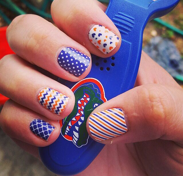 Love these custom orange and blue Gator wraps! Jamberry nails