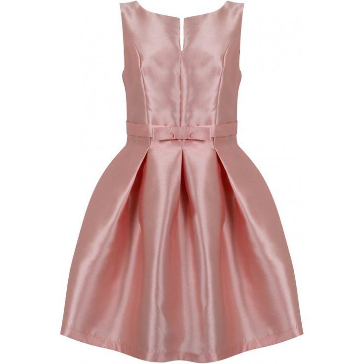 Piękna rozkloszowana sukienka na wesele z kokardką pastelowy róż https://stylovesukienki.pl/ #dress #sukienka #wesele