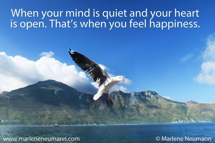 When your mind is quiet and your heart is open. That's when you feel happiness... Love Marlene