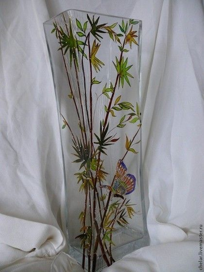 """Вазы ручной работы. Ярмарка Мастеров - ручная работа. Купить Ваза """" Бамбук и бабочка"""" Витраж. Handmade. Вазы стекло"""
