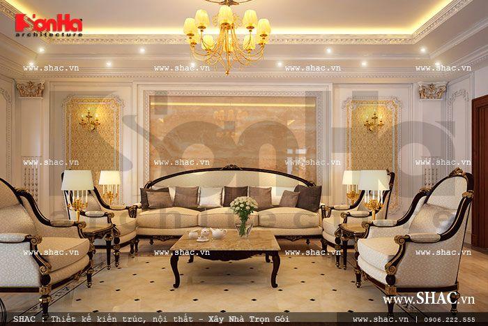 Biệt thự Pháp được thiết kế phòng sinh hoạt gia đình riêng tư, sang trọng mà ấm cúng, gần gũi