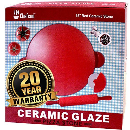 Pizza Stone Plus Cutter and Rolling Pin by Chefcoo 15 Inch Red Ceramic Glaze  Professional Baking Cordierite Stone with Handle for Oven Broiler Gas Charcoal Grill  Safe Up to 315C * Learn more by visiting the image link.