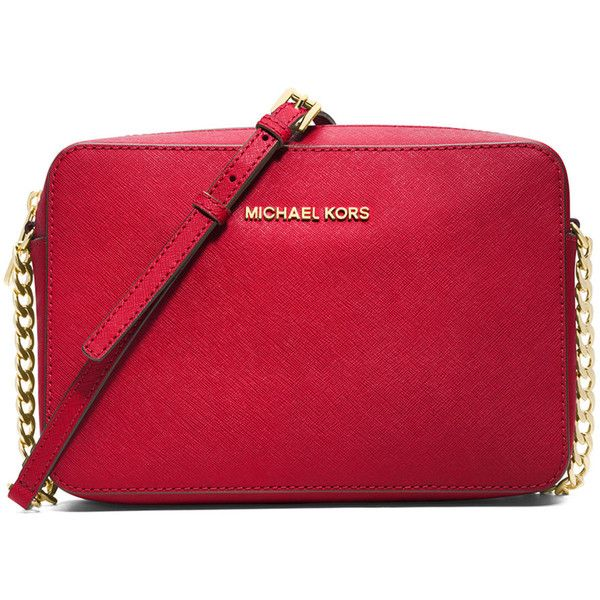 MICHAEL Michael Kors Jet Set Travel Large Crossbody Bag ($155) ❤ liked on Polyvore featuring bags, handbags, shoulder bags, chili, chain crossbody, crossbody travel purse, chain strap shoulder bag, chain strap purse and shoulder strap handbags