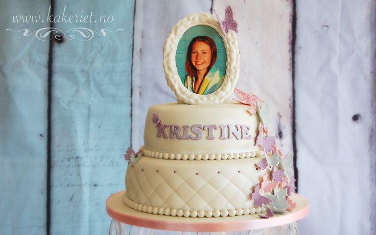 Butterflies cake with picture in frame <3