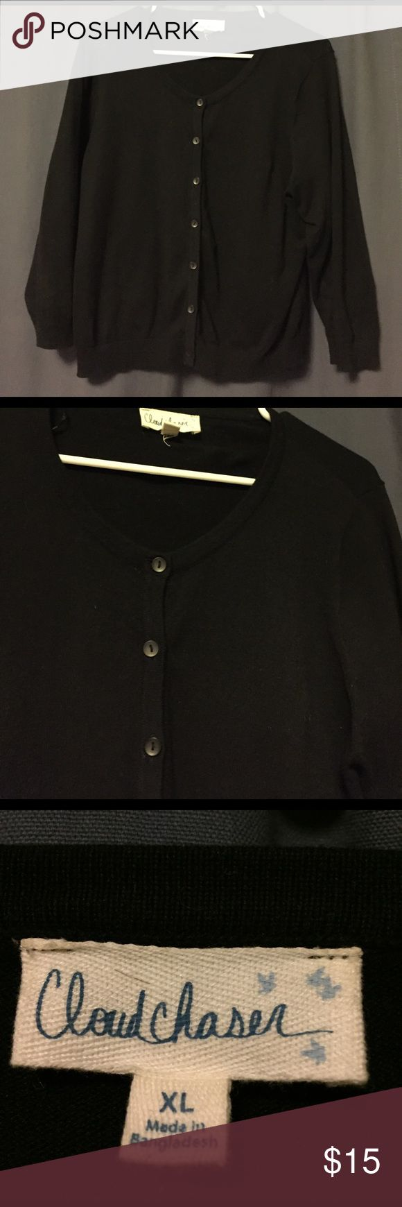Black 3/4 length sleeve junior cardigan w/ buttons Brand new never worn juniors cardigan (also should  fit medium/large women) I'm a small/medium and it's too big for me. cloud chaser Sweaters Cardigans