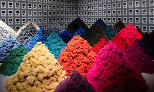 'A mocking rebuke to the fashion industry'... Christien Meindertsma's work made of discarded wool.