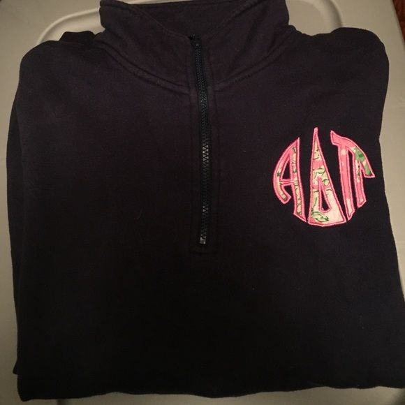 ADPi Lilly Pulitzer quarter zip Navy quarter zip with front corner emblem of Alpha Delta Pi letters in a Lilly Print Lilly Pulitzer Other