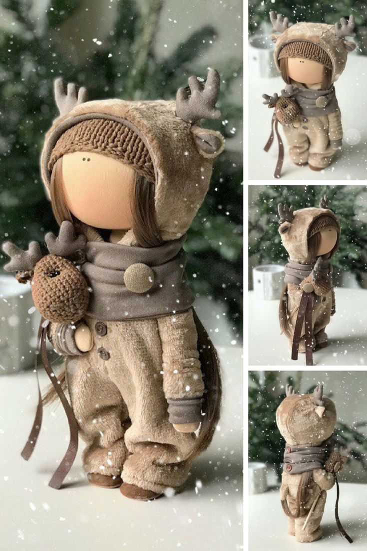 Deer Tilda Doll Handmade Fabric Doll Textile Cloth Doll Poupée Art Doll Bambole Rag Doll Puppen Muñecas Brown Winter Decor Doll by Yulia K  Such dolls and toys can be great present for your beloved people. Besides, our dolls perfectly fit home decor and interior decoration: nursery, bedroom etc.