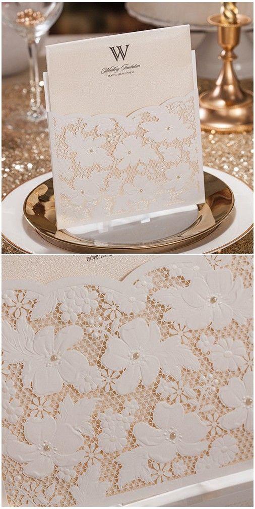 Delicate Ivory Floral Pocket Laser Cut Wedding