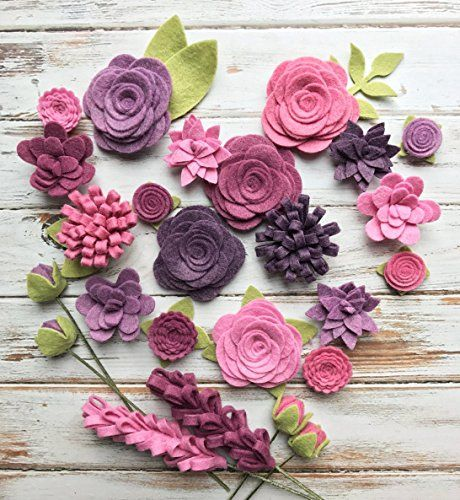 25 Wool Felt Flowers 24 Leaves - Purple Wool Felt Fabric Flowers - Vineyard Felt Flowers - Large Posies
