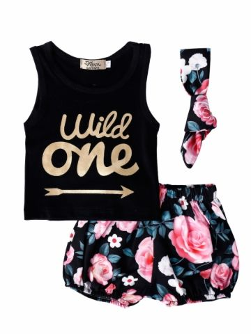 Buy Baby Girl's 3 Pcs Suits Fashion Sleeveless Printing Top And Floral Shorts Headband Cotton Set & Girls Wear - at Jollychic