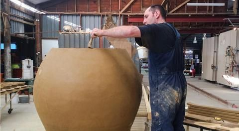 Making HUGE pots. Terracotta 'anfora' are ancient wine vessels... At Morris & James Pottery, New Zealand