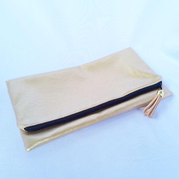 Gold vinyl Foldover clutch