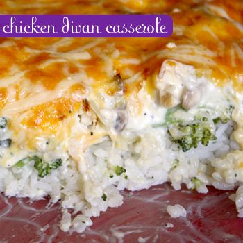 Chicken Divan Casserole ... in our house we add 1 lb ground beef & minus the mushrooms.