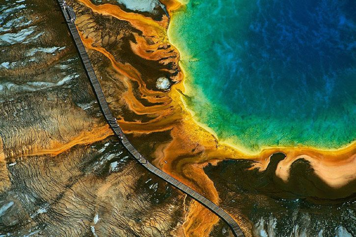 aerial-photography-24: Grand Prismatic, Globes, Aerial Photography, Places, Yann Arthusbertrand, Yann Arthus Bertrand, The One, National Parks Wyoming, Yellowstone National Parks