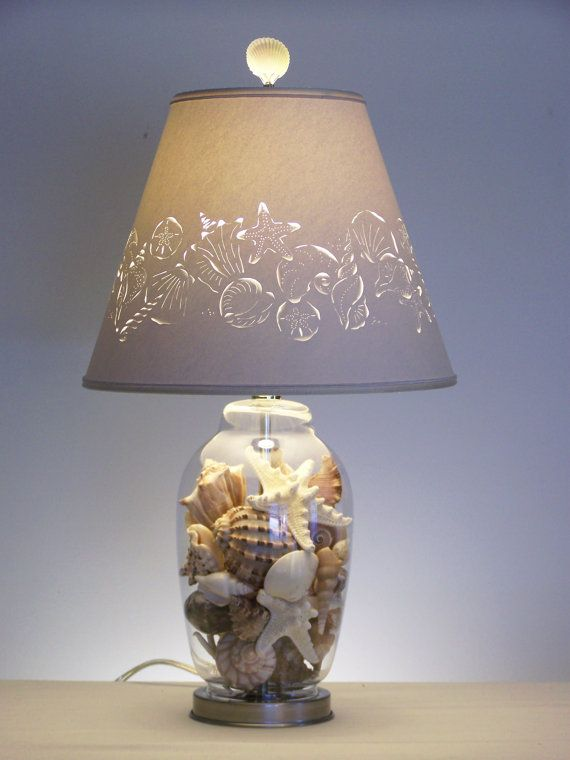 Fillable glass table lamp base lamps ideas - Fill Your Own Seashell Lamp Fillable Lamp Fillable Table