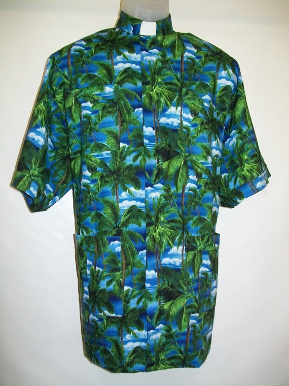 Panama clerical shirt in tropical paradise. Size LARGE ...