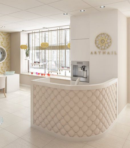 The interiors, intimate nail salon - Lada quilted reception desk
