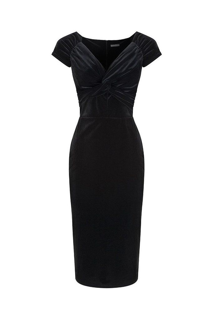Black Velour Crossover Wiggle Dress