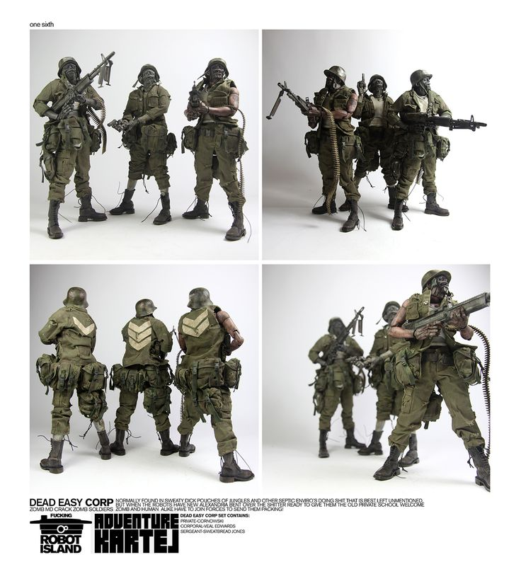 Updated shot of 1/6th scale AKLUB Dead Easy Corp ZOMB MD CRACK ZOMB SOLDIERS set. It goes up for pre-order on September 13th at www.bambalandstore.com for 260USD. #threeA #AdventureKartel #AshleyWood #HitsBambalandstoreSoon