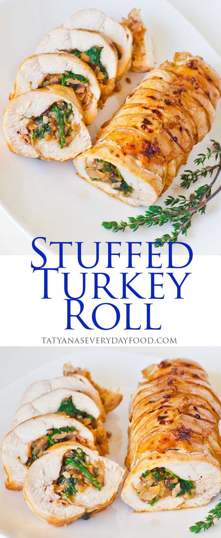 Stuffed Turkey Roll - perfect for Thanksgiving!