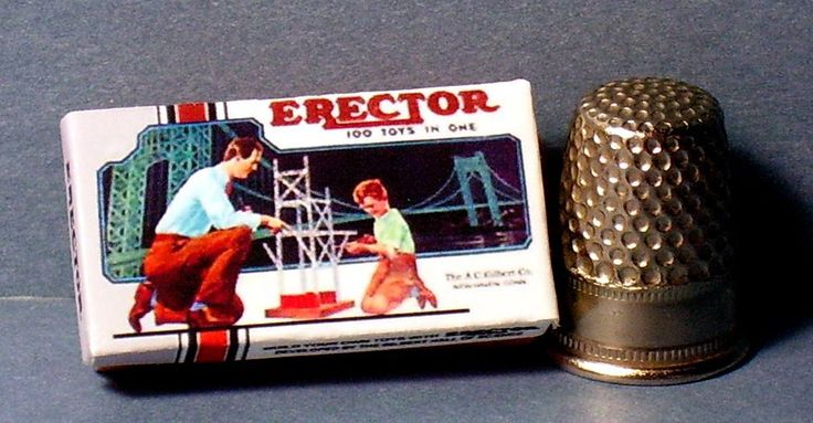 Dollhouse Miniature 1:12  Gilbert Erector Set Box 1950s  dollhouse boy toy box #Unbranded