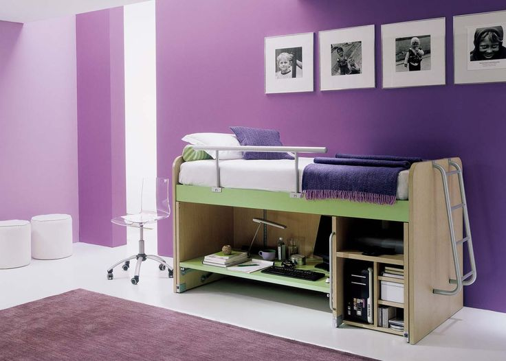 Feminine Purple Bedroom Decors For Inspiration : Charming Purple Bedroom  Design With Small Loft Bed And Purple Carpet Also Transparent Mater. Part 86