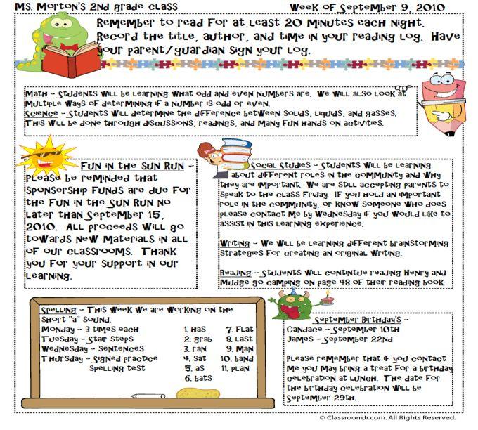 classroom newsletter ideas - Apmayssconstruction