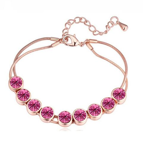 Chain of Dots Crystal bracelet Pink – Pink Hippo Store