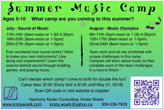 Postcard for advertising summer music camp in schools and libraries