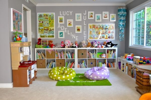 We have this big beautiful formal living room kids' playroom in our house. Immediatly after we moved in, I found this great picture of a family media center. I thought these white expedit bookshelves from Ikea would look great against our gray walls. I was also inspired by this comfy bench … by Reah