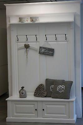 Garderobe mit Bank Dielenmöbel Wandpaneel mit Bank weiss Landhaus Stil  in Möbel & Wohnen, Klein- & Hängeaufbewahrung, Wand-, Türgarderoben & Haken | eBay!