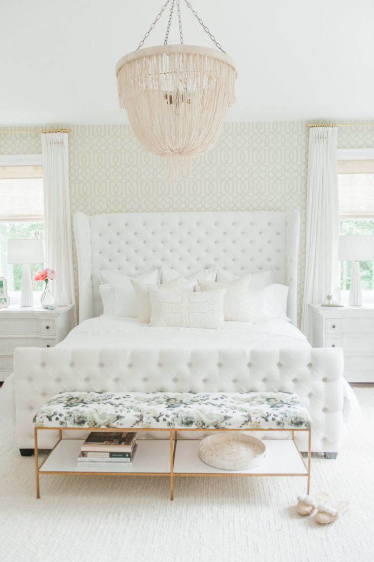 Wedding bedroom decoration 2016 - A Beaded Chandelier And Neutral Master Bedroom Photography Blush Wedding Photography Read More On