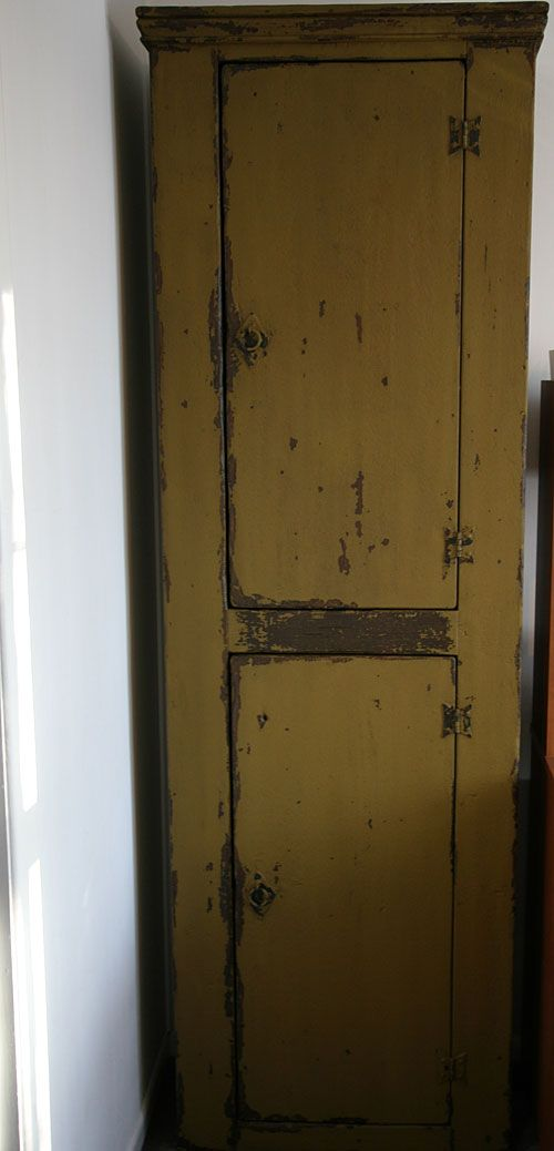 Primitive Reproduction Cabinet With Mustard Paint. Handmade By Joseph  Spinale Furniture In 2009. This