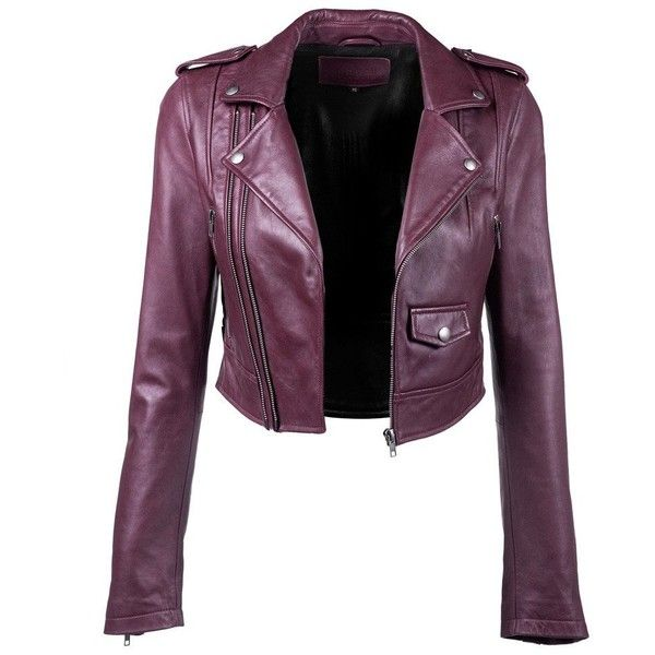 Crop Leather Jacket ($545) ❤ liked on Polyvore featuring outerwear, jackets, 100 leather jacket, leather jackets, cropped jacket, purple jacket and genuine leather jackets