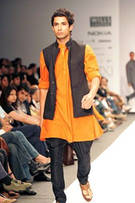 'aligarhi' pajamas with shortish kurtas and nehru jackets