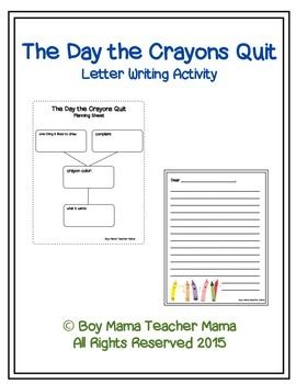 After reading the day the crayons quit student can plan and write a