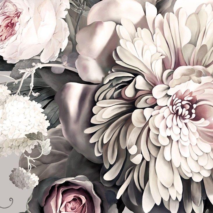 Dark Floral II Gray - Floral Wallpaper - by Ellie Cashman Design