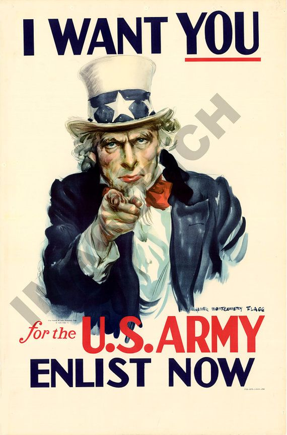 World War II Poster   Uncle Sam  I Want You  For the by Imagerich on etsy.