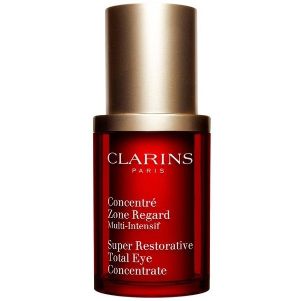 Clarins 'Super Restorative' Total Eye Concentrate ($75) via Polyvore featuring beauty products, skincare, eye care, no color, clarins, clarins skin care, anti aging skincare, puffy eye treatment and antiaging skin care