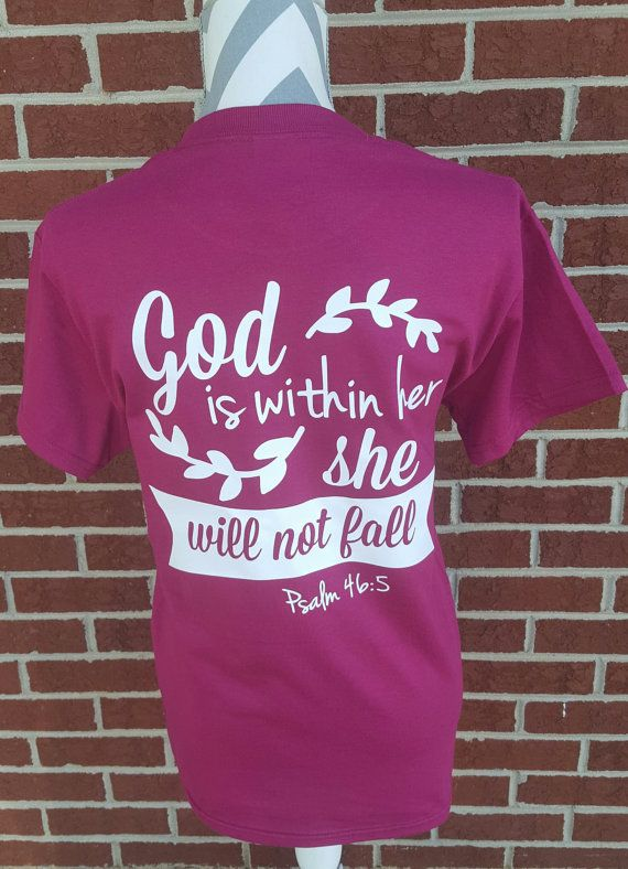 Monogrammed She Will Not Fall Shirt. Scripture by ElleQDesigns