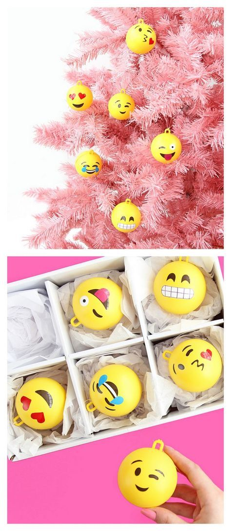 DIY Emoji Ornament Tutorial from A Subtle Revelry. Make these fun DIY Emoji Ornaments with clear ornaments, vinyl, and spray paint. Please choose cruelty free vegan art and craft supplies