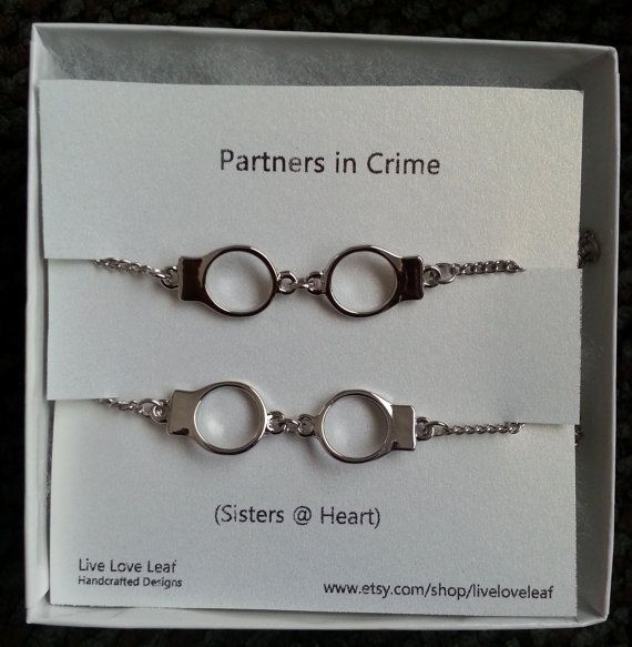 Partners in Crime Matching Silver Handcuffs Bracelets - Best friends bracelet, BFF love bracelet handchain Sisters jewelry  Live Love Leaf