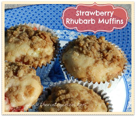 ... rhubarb muffins / http://thevintagemom.com/strawberry-rhubarb-muffins
