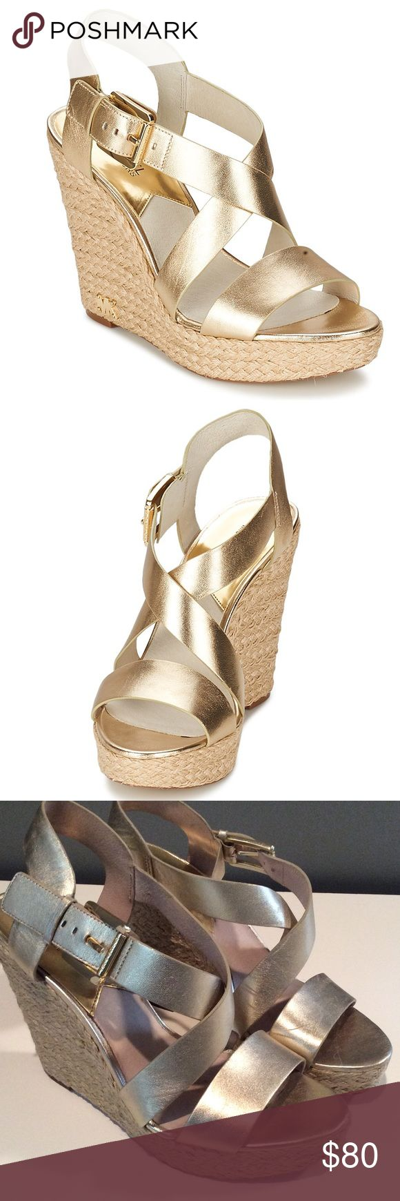 Michael Kors Gold Wedges Gently worn wedges. Very comfortable and great for the summer. Perfect for walking in the grass or on the beach! MICHAEL Michael Kors Shoes Wedges