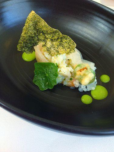 Spanner crab, whitefish sashimi, jalapeño, lime, mint. [Lake House - Daylesford, Victoria, Australia]