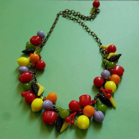 Kitsch Carmen's fruit charm necklace - Antique gold, , Necklace, Bow & Crossbones, Bow & Crossbones   - 1