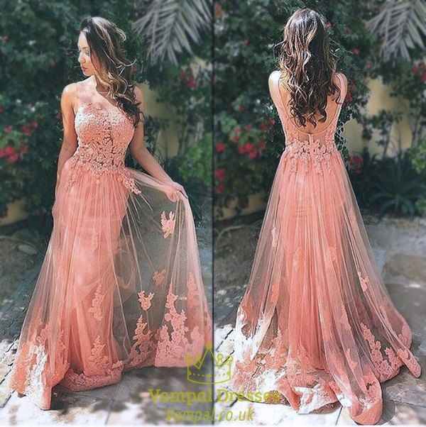 vampal.co.uk Offers High Quality Pink Sleeveless Open Back Applique Bodice Lace…