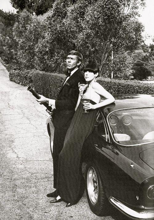 Peggy Moffitt & James Coburn in Our Man Flint promo 1964, jersey evening dress by Rudi Gernreich. Ferrari Lusso.