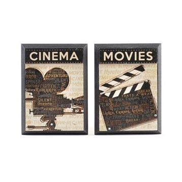 Wood Cinema & Movie Plaque, Set of 2 at Kirkland's